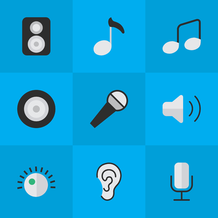 Vector Illustration Set Of Simple Melody Icons. Elements Regulator, Music Sign, Loudness And Other Synonyms Loudspeakers, Record And Mic. Illustration