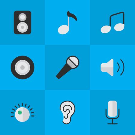 Vektor-Illustrations-Satz einfache Melodie-Ikonen. Elements Regulator, Music Sign, Loudness und andere Synonyme Lautsprecher, Schallplatte und Mikrofon Standard-Bild - 82982233