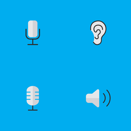 Vector Illustration Set Of Simple  Icons. Elements Microphone, Record, Listen And Other Synonyms Hear, Volume And Mic.