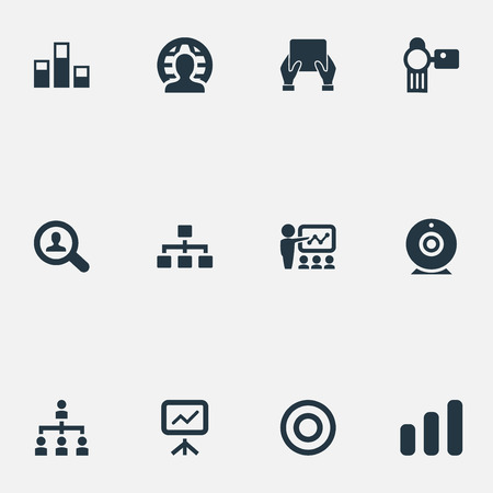 Vector Illustration Set Of Simple Presentation Icons. Elements Training, Growing Up, Video Cam And Other Synonyms Phone, Camera And Increase. Vector Illustration