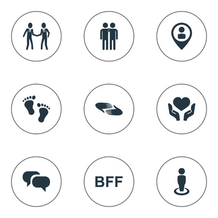 Vector Illustration Set Of Simple Friends Icons. Elements Fellows, Singleness, Gossip And Other Synonyms Fellows, Charity And Friendship.