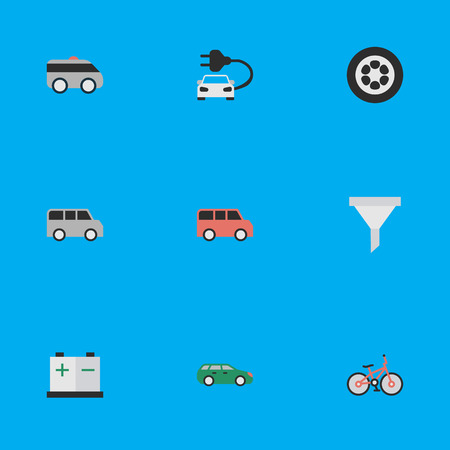 Vector Illustration Set Of Simple Transportation Icons. Elements Charge, Minibus, Recycle And Other Synonyms Auto, Artillery And Accumulator.