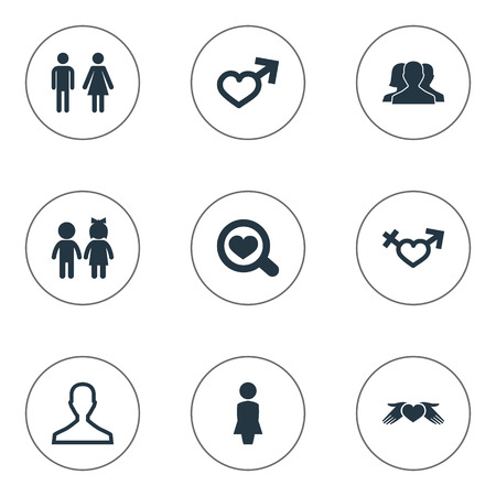 Vector Illustration Set Of Simple Couple Icons. Elements Gentleman, Heart In Hand, Children Synonyms Care, Girl And Couple. 向量圖像