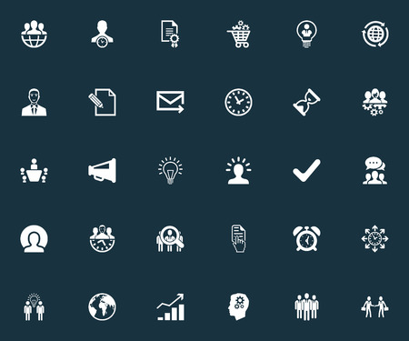 Vector Illustration Set Of Simple Plan Icons. Elements Global Trade, Director, Brainstorming And Other Synonyms Social, Advertising And International. Illustration