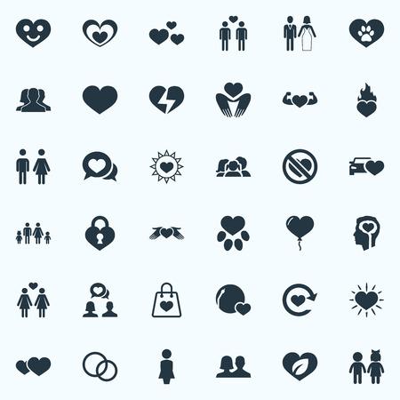 簡単なバレンタインのアイコンのベクトル イラスト セット。要素世帯、アムール、パッケージ、他の同義語の装飾、パワーと号  イラスト・ベクター素材