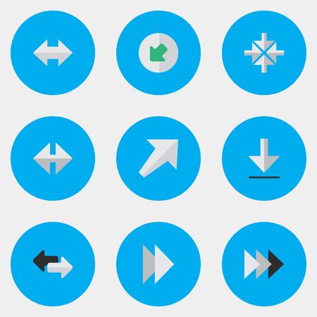 Vector Illustration Set Of Simple Cursor Icons. Elements Southwestward, Onward, Northwestward And Other Synonyms Southwestward, Loading And Next. Illustration