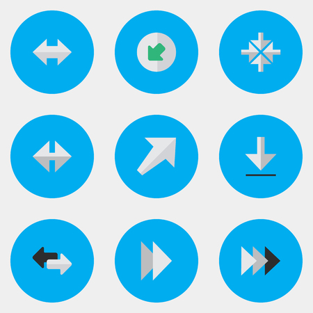 Vector Illustration Set Of Simple Cursor Icons. Elements Southwestward, Onward, Northwestward And Other Synonyms Southwestward, Loading And Next. Ilustração