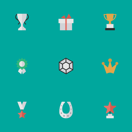Vector Illustration Set Of Simple Champion Icons. Elements Reward, Metal, Present And Other Synonyms Award, Reward And Surprise. Ilustrace