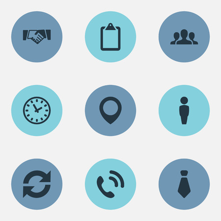 Vector Illustration Set Of Simple Team Icons. Elements Hotline, Pinpoint, Cravat And Other Synonyms Hotline, Person And Tie. Ilustrace