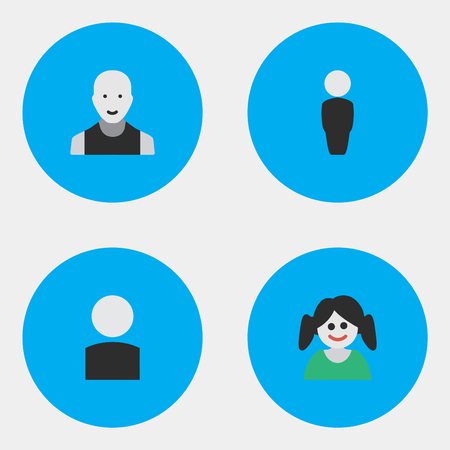 Vector Illustration Set Of Simple Avatar Icons. Elements Female, Person, Man And Other Synonyms Man, Male And Section. Illustration
