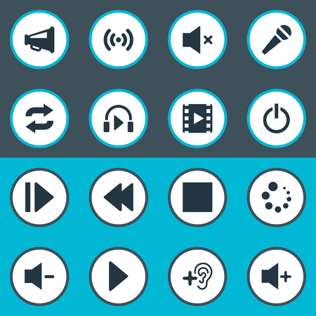 Vector Illustration Set Of Simple Audio Icons. Elements Upload, Control Panel, Switch Off And Other Synonyms Quiter, Player And Plus.