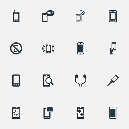 Vector Illustration Set Of Simple Smartphone Icons. Elements Outgoing Calls, Investigate On Phone, Front Camera And Other Synonyms Forbidden, Outgoing And Incoming. Illustration