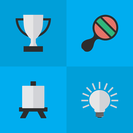 Vector Illustration Set Of Simple Education Icons. Elements Racket, Easel, Goblet And Other Synonyms Board, Painting And Goblet.