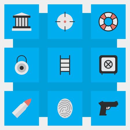 Ilustración vectorial Set Of Simple Offence Icons. Elementos Bóveda, Blanco, Tiro Y Otros Sinónimos Bóveda, Arma Y Escalada. Foto de archivo - 82923855