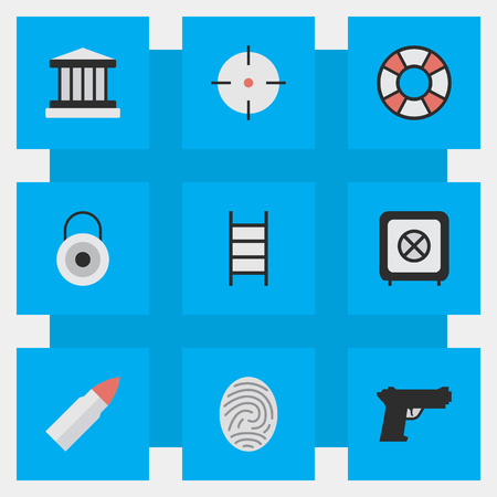 Vector Illustration Set Of Simple Offense Icons. Elements Vault, Target, Shot And Other Synonyms Vault, Weapon And Climbing. Çizim