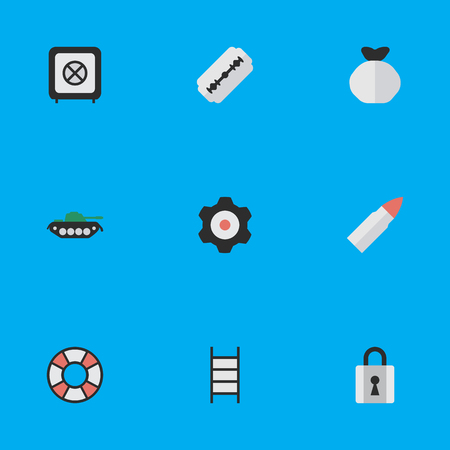 Vector Illustration Set Of Simple Crime Icons. Elements Stairs, Vault, Military And Other Synonyms Padlock, Military And Cogwheel.