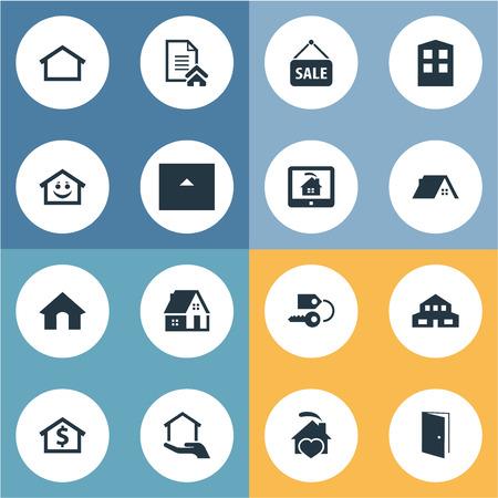 Vector ilustración conjunto de iconos reales simples. Elementos clave, capital, granero y otros sinónimos Inicio, estado y base de datos. Foto de archivo - 82982213