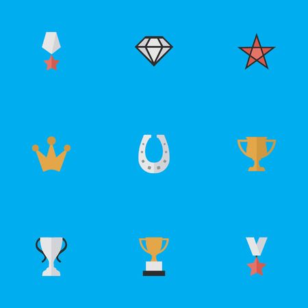 Vector Illustration Set Of Simple Awards Icons. Elements Champion, Trophy, Goblet And Other Synonyms Precious, Prize And Diamond.