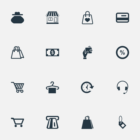 gift basket: Vector Illustration Set Of Simple Money Icons. Elements Package, Paper Bag, New Item And Other Synonyms Cart, Banking And Time. Illustration