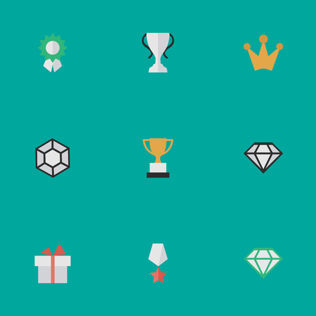 Vector Illustration Set Of Simple Prize Icons. Elements Goblet, Reward, Brilliant And Other Synonyms Premium, Diamond And Chalice.