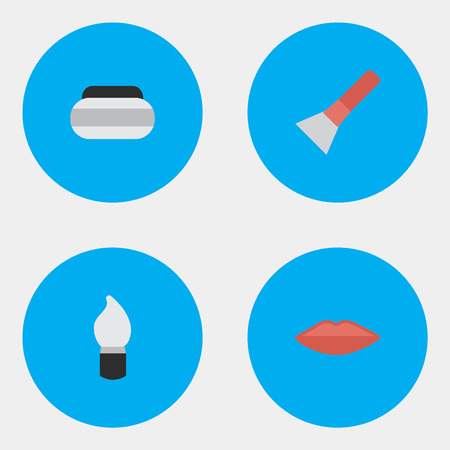 Vector Illustration Set Of Simple Beauty Icons. Elements Scrub, Brush, Lips And Other Synonyms Kiss, Scrub And Lipstick.