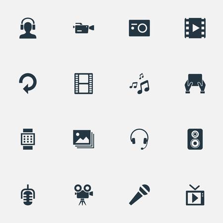Vector illustratie Set van eenvoudige media iconen. Elements Filmstrip, videocamera, microfoon en andere synoniemen Oortelefoon, noot en luidspreker.