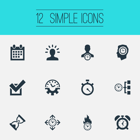 Vector Illustration Set Of Simple Management Icons. Elements Approve, Limits, Clock And Other Synonyms Speedometer, Administrator And Efficiency.