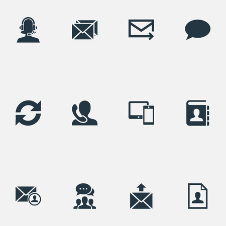 Vector Illustration Set Of Simple Contact Icons. Elements Epistle Author, Contacts, Speaking Human And Other Synonyms Update, Opinion And Speaking. Illustration