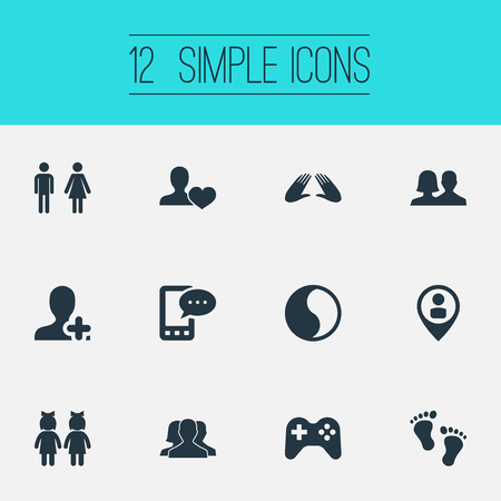 Vector Illustration Set Of Simple  Icons. Elements Ensemble, Balance, Add Friend And Other Synonyms Friend, Love And Male.