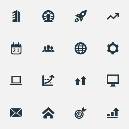 Vector Illustration Set Of Simple Teamwork Icons. Elements Graph, Envelope, Construction And Other Synonyms Building, Graphic And E-Mail.