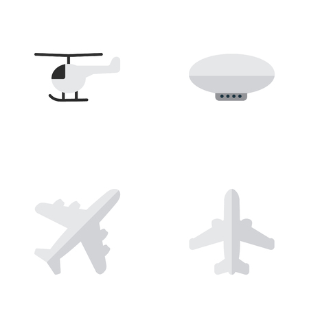 Vector Illustration Set Of Simple Plane Icons. Elements Airliner, Balloons, Aircraft And Other Synonyms Airship, Airplane And Airliner.
