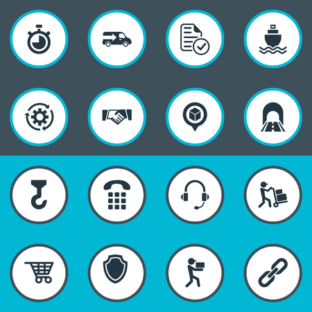 Vector Illustration Set Of Simple Systematization Icons. Elements Hook, Supporting, Sea Transport And Other Synonyms Chronimetr, Lorry And Delivery.