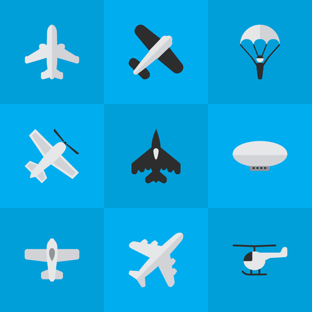Vector Illustration Set Of Simple Aircraft Icons. Elements Copter, Aviation, Catapults And Other Synonyms Aircraft, Vehicle And Flying.