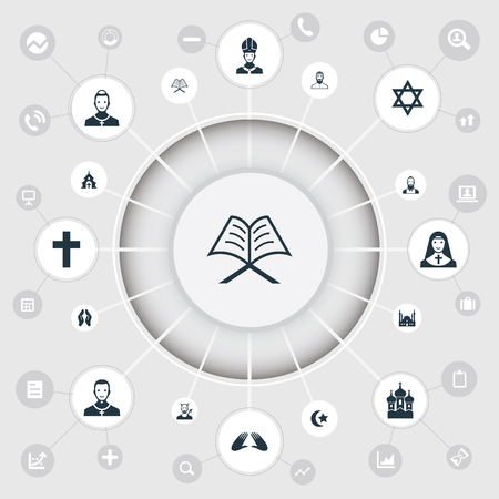 Vector Illustration Set Of Simple Faith Icons. Elements Chapel, Orison, Muslim And Other Synonyms Taoist, Church And Lucifer.