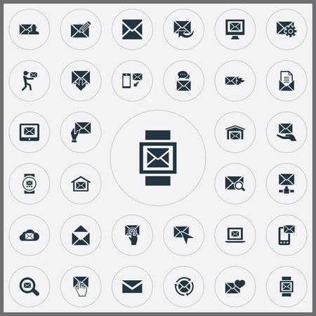 単純な通信アイコンのベクター イラスト セット。要素を探して、送信、郵便受けと他の同義語を開く、更新、ホットします。  イラスト・ベクター素材