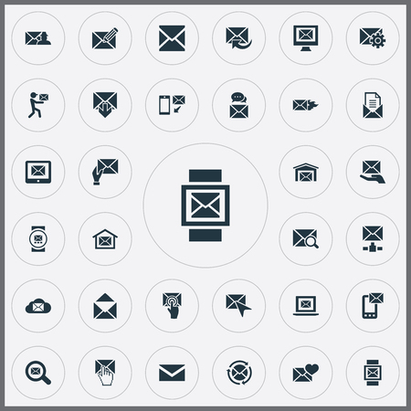 Vector illustratie Set van eenvoudige communicatie iconen. Elementen Look For, Sent, Postal Box and Other Synoniemen Open, Update And Hot. Stock Illustratie