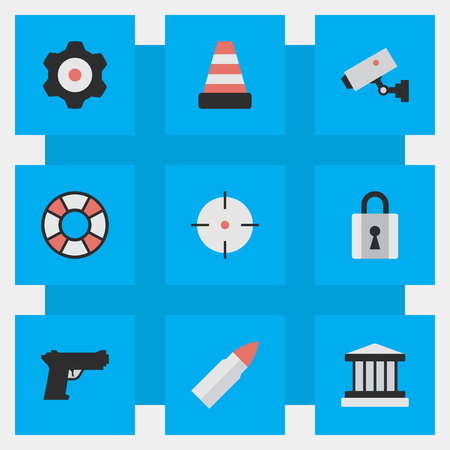 Vector Illustration Set Of Simple Crime Icons. Elements Shot, Weapon, Grille And Other Synonyms Court, Mechanical And Cone.