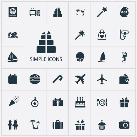 Vector Illustration Set Of Simple  Icons. Elements Ale Mug, Calendar, Aircraft And Other Synonyms Decoration, Entertaiment And Airplane. Illustration