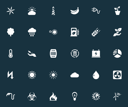 Ilustración vectorial Conjunto de iconos de ecología simple. Bosque de elementos, conservación, molino de viento y otros sinónimos, potencia y electricidad. Foto de archivo - 82926235