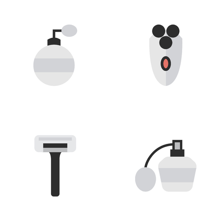 Vector Illustration Set Of Simple Shop Icons. Elements Fragrance, Perfume, Shaver And Other Synonyms Perfume, Razor And Blade.