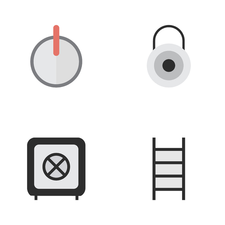 Vector Illustration Set Of Simple Offense Icons. Elements Vault, Stairs, Safe And Other Synonyms Climbing, Ladder And Password.