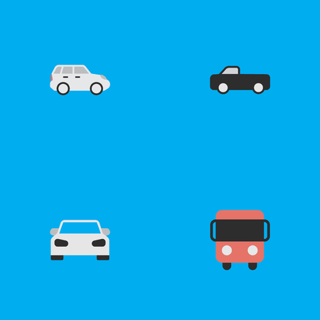 Vector Illustration Set Of Simple Traffic Icons. Elements Truck, Suv, Autobus And Other Synonyms Truck, Pickup And Sport.