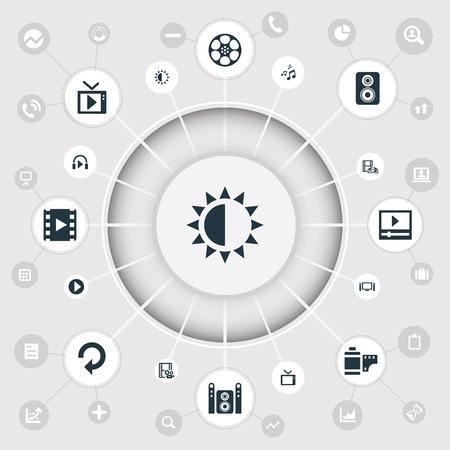 Vectorillustratiereeks Eenvoudige Pictogrammen Van Verschillende media. Elementenbrillen, Luidspreker, Begin en Andere synoniemenbrillen, Negatief en Aanpassing.