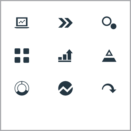 Vector Illustration Set Of Simple Diagram Icons. Elements Pie Bar, Ahead, Test And Other Synonyms Pie, Top And Triangle. Illustration