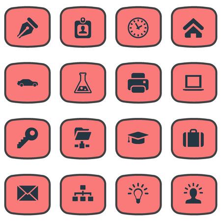 単純なコマース アイコンのベクター イラスト セット。要素のパスワード、電球、自動車および他の類義語程度インクとペン先。  イラスト・ベクター素材