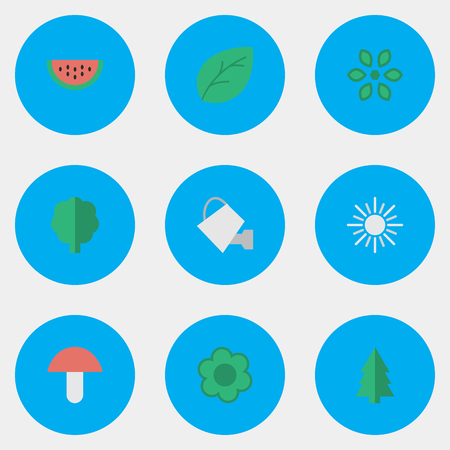 Vector Illustration Set Of Simple Horticulture Icons. Elements Fungus, Blossom, Sheet And Other Synonyms Watermelon, Bailer And Watering.