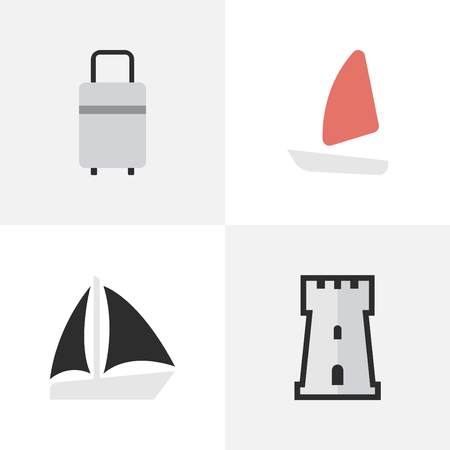 Vector Illustration Set Of Simple Relax Icons. Elements Boat, Schooner, Baggage And Other Synonyms Tower, Bag And Defence.