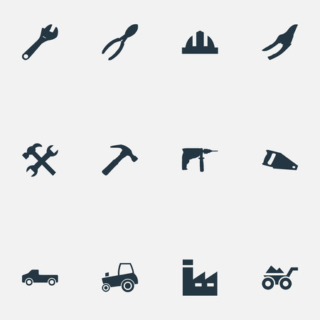 Vector Illustration Set Of Simple Industrial Icons. Elements Transportation, Helmet, Hammer And Other Synonyms Hand, Tractor And Factory. Illustration