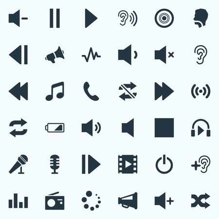 Vector Illustration Set Of Simple Sound Icons. Elements Switch Off, Silent, Next And Other Synonyms Stop, Equalizer And Communication. Illustration