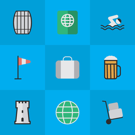 Vector Illustration Set Of Simple Relax Icons. Elements Cask, Tower, Certificate And Other Synonyms Hand, Passport And Beer. Illustration